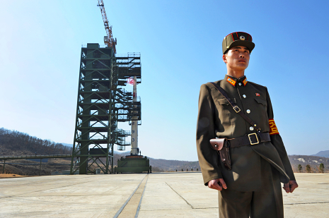 A North Korean soldier stands guard