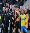 Alan Pardew and David Meyler being pulled away from each other after the head butting incident.